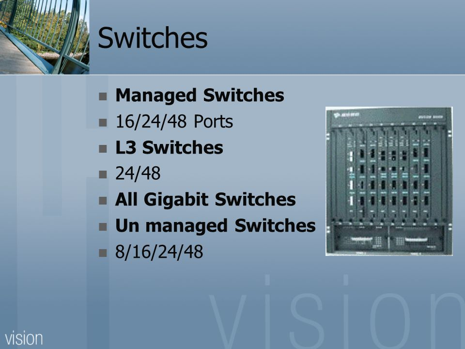 Switches Managed Switches 16/24/48 Ports L3 Switches 24/48 All Gigabit Switches Un managed Switches 8/16/24/48