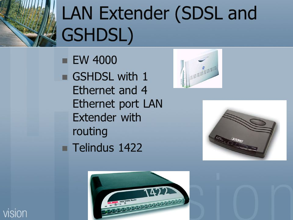 LAN Extender (SDSL and GSHDSL) EW 4000 GSHDSL with 1 Ethernet and 4 Ethernet port LAN Extender with routing Telindus 1422
