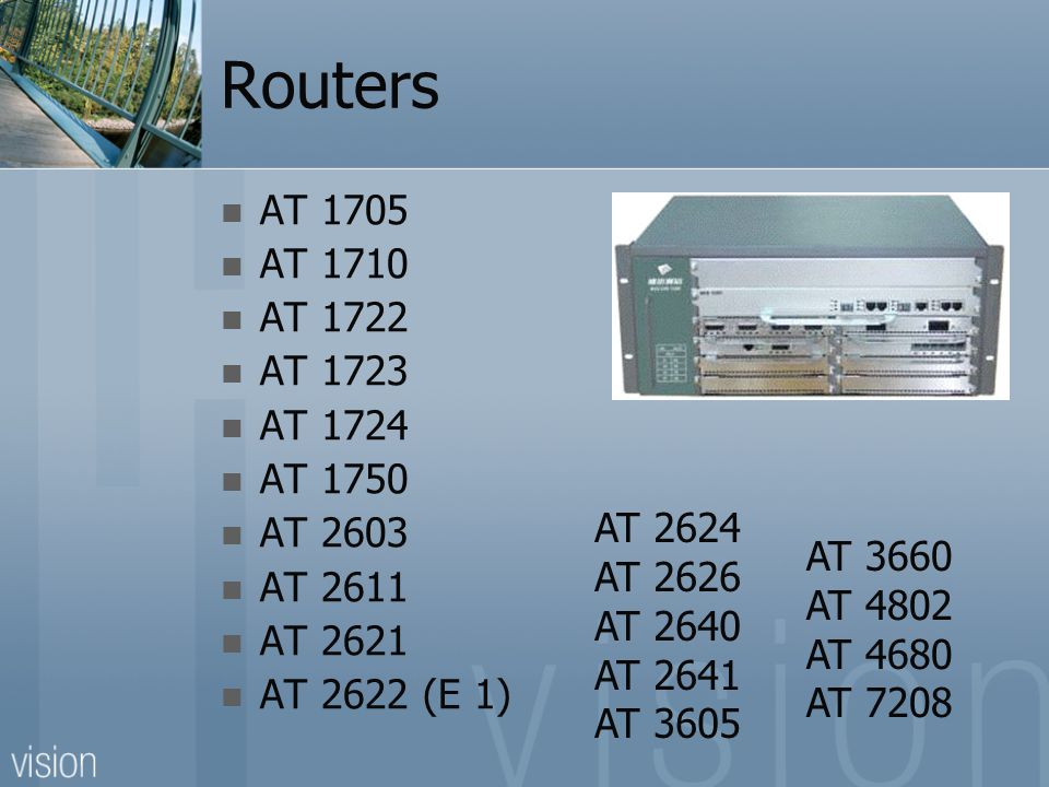 Routers AT 1705 AT 1710 AT 1722 AT 1723 AT 1724 AT 1750 AT 2603 AT 2611 AT 2621 AT 2622 (E 1) AT 2624 AT 2626 AT 2640 AT 2641 AT 3605 AT 3660 AT 4802 AT 4680 AT 7208