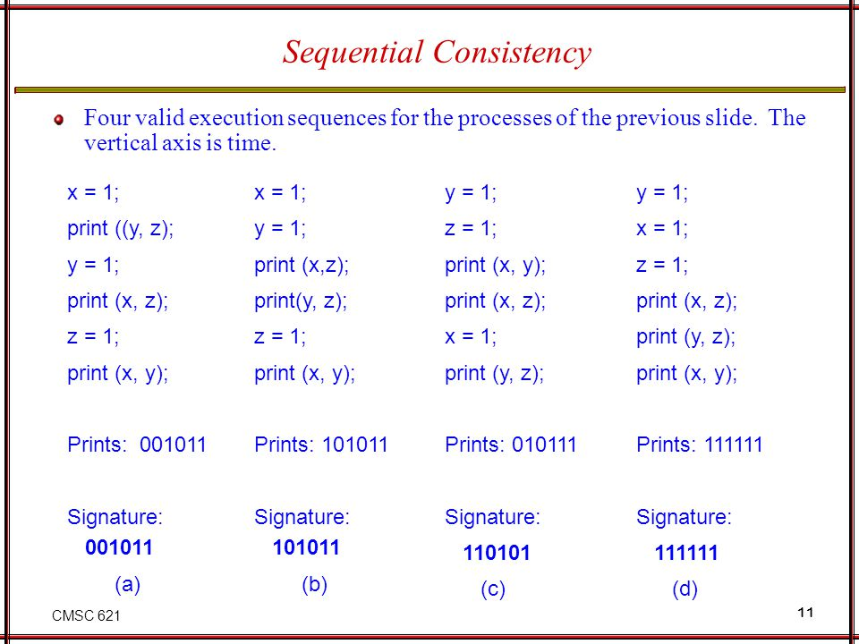 CMSC 621 11 Four valid execution sequences for the processes of the previous slide. The vertical axis is time. x = 1; print ((y, z); y = 1; print (x,