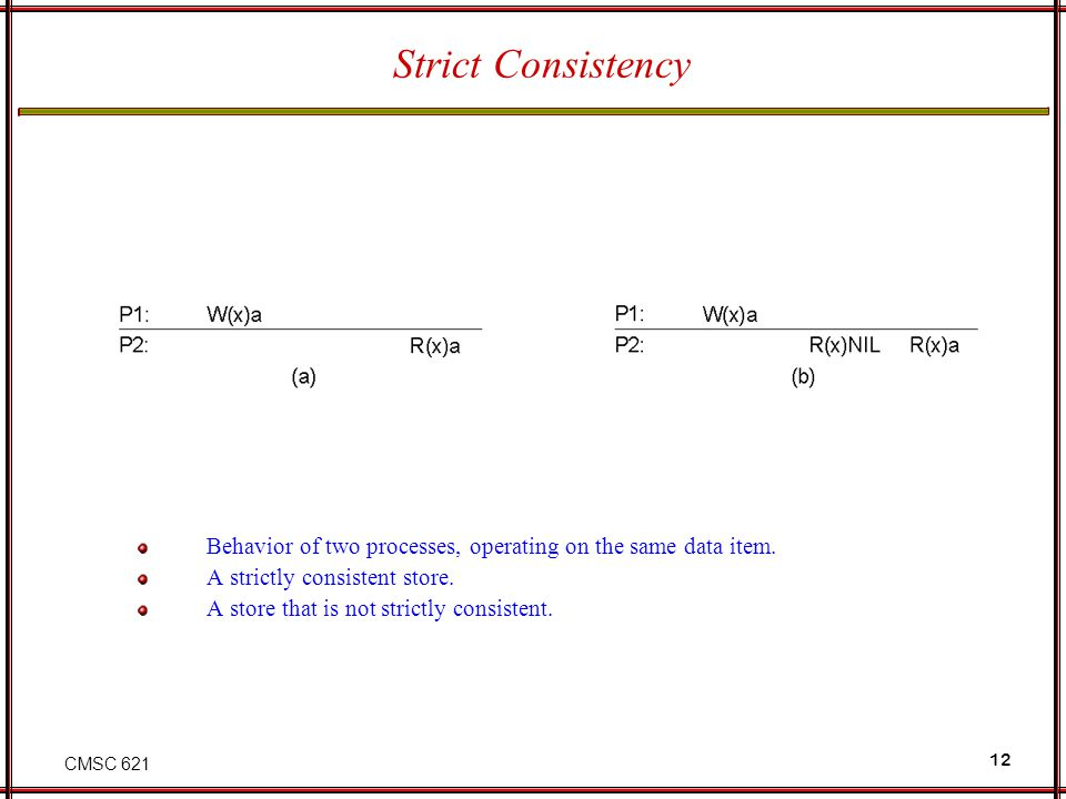 CMSC 621 12 Strict Consistency Behavior of two processes, operating on the same data item. A strictly consistent store. A store that is not strictly c