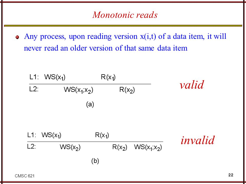 CMSC 621 22 Monotonic reads Any process, upon reading version x(i,t) of a data item, it will never read an older version of that same data item valid