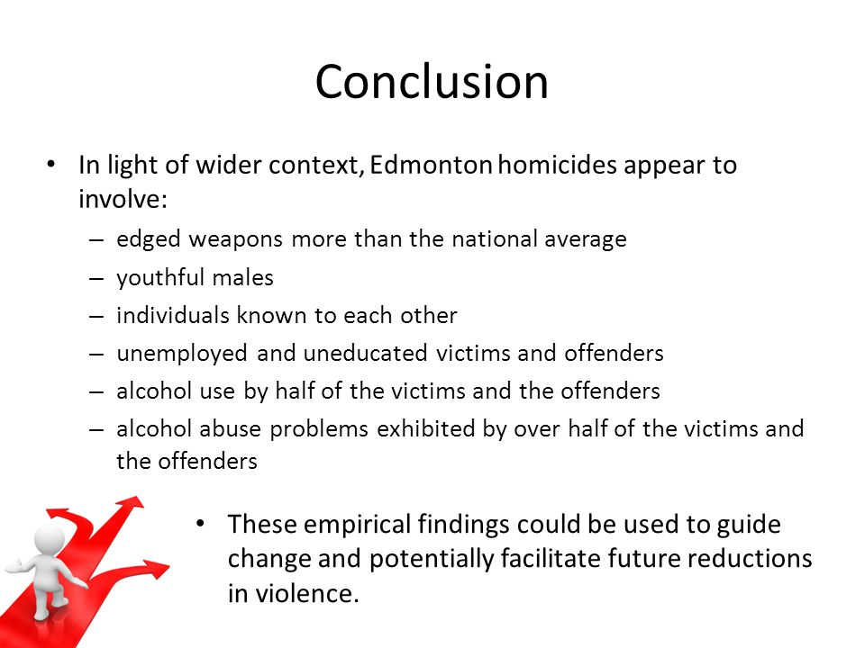 Conclusion In light of wider context, Edmonton homicides appear to involve: – edged weapons more than the national average – youthful males – individuals known to each other – unemployed and uneducated victims and offenders – alcohol use by half of the victims and the offenders – alcohol abuse problems exhibited by over half of the victims and the offenders These empirical findings could be used to guide change and potentially facilitate future reductions in violence.