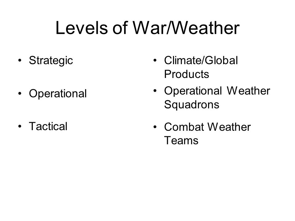 Levels of War/Weather Strategic Operational Tactical Climate/Global Products Operational Weather Squadrons Combat Weather Teams