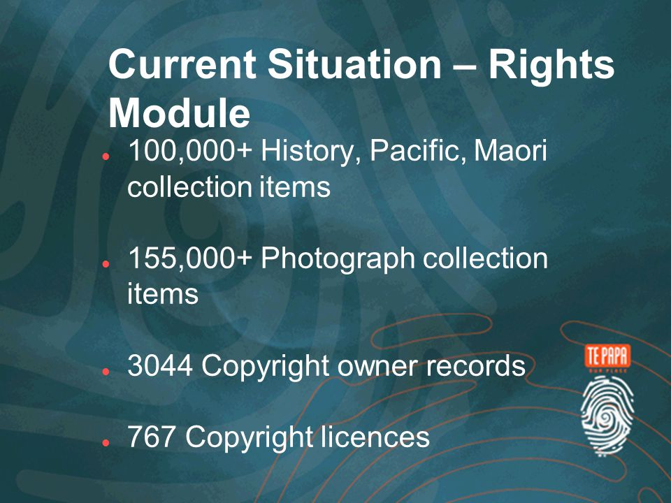 Current Situation – Rights Module 100,000+ History, Pacific, Maori collection items 155,000+ Photograph collection items 3044 Copyright owner records 767 Copyright licences