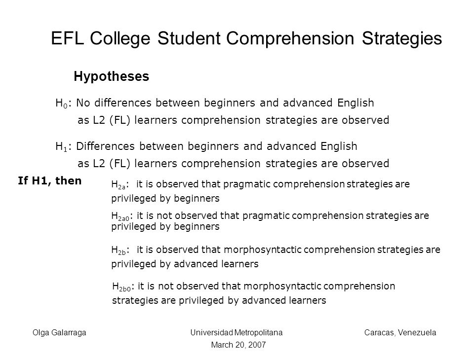 EFL College Student Comprehension Strategies Olga Galarraga Universidad Metropolitana Caracas, Venezuela March 20, 2007 H 0 : No differences between beginners and advanced English as L2 (FL) learners comprehension strategies are observed H 1 : Differences between beginners and advanced English as L2 (FL) learners comprehension strategies are observed If H1, then H 2a : it is observed that pragmatic comprehension strategies are privileged by beginners H 2b : it is observed that morphosyntactic comprehension strategies are privileged by advanced learners H 2b0 : it is not observed that morphosyntactic comprehension strategies are privileged by advanced learners H 2a0 : it is not observed that pragmatic comprehension strategies are privileged by beginners Hypotheses