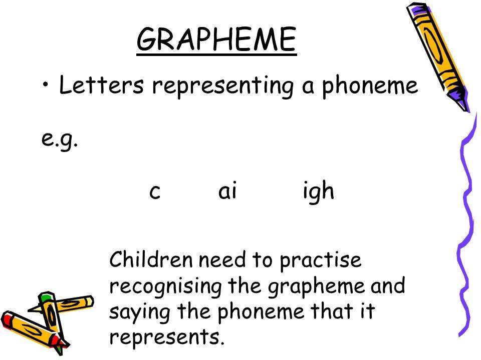 GRAPHEME Letters representing a phoneme e.g.