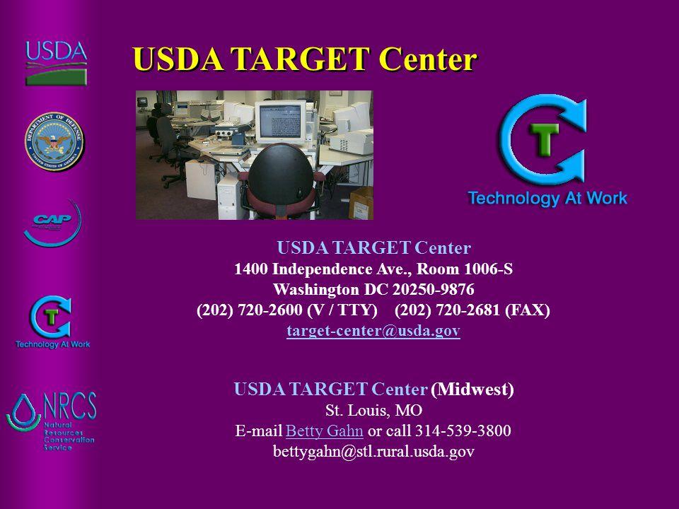 USDA TARGET Center 1400 Independence Ave., Room 1006-S Washington DC 20250-9876 (202) 720-2600 (V / TTY) (202) 720-2681 (FAX) target-center@usda.gov target-center@usda.gov USDA TARGET Center (Midwest) St.