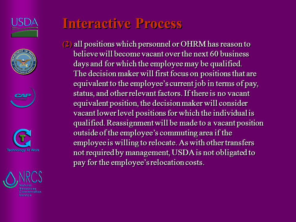 (2) all positions which personnel or OHRM has reason to believe will become vacant over the next 60 business days and for which the employee may be qu