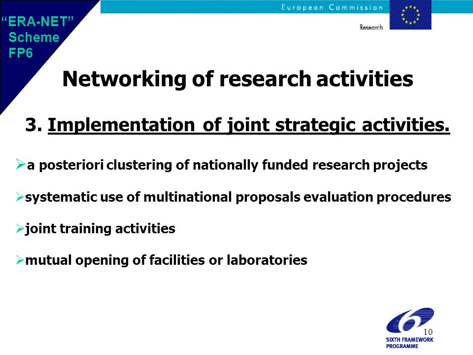10 Networking of research activities 3. Implementation of joint strategic activities.