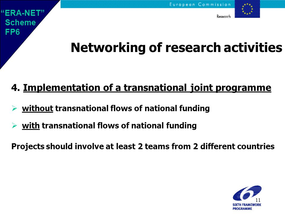 11 Networking of research activities 4.