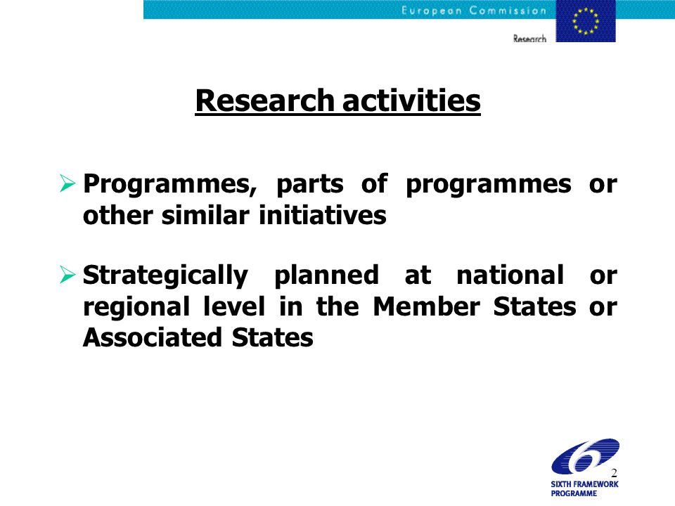 3 Objective To step up the cooperation and coordination of research activities carried out at national or regional level in the Member States and Associated States through:  The networking of research activities conducted at national or regional level  The mutual opening of national and regional research programmes ERA-NET Scheme FP6 ERA-NET Scheme FP6