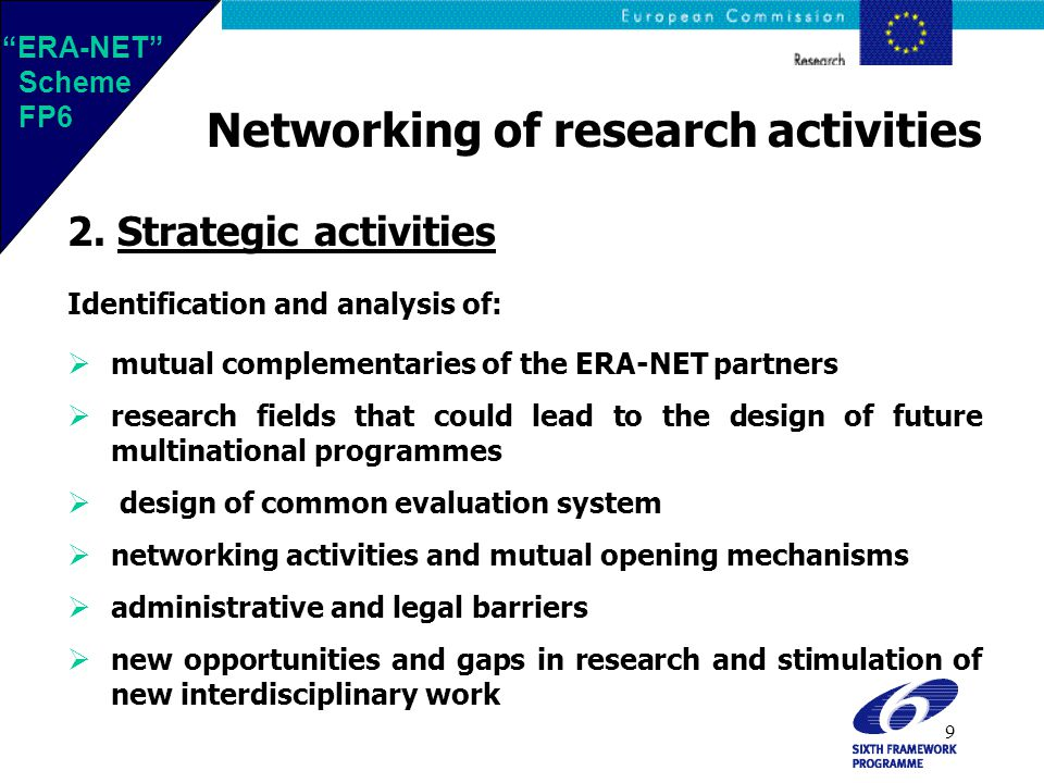 9 Networking of research activities 2.