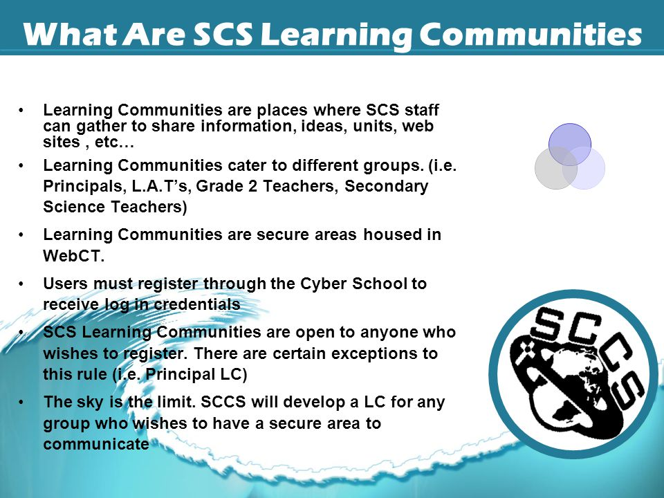 LEARNING COMMUNITIES The way of the future for sharing resources, information and asking questions!