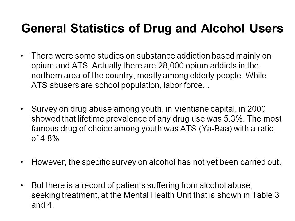 General Statistics of Drug and Alcohol Users There were some studies on substance addiction based mainly on opium and ATS.