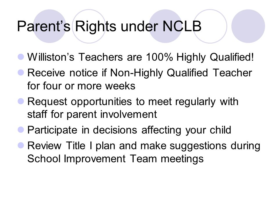 Parent's Rights under NCLB Williston's Teachers are 100% Highly Qualified! Receive notice if Non-Highly Qualified Teacher for four or more weeks Reque