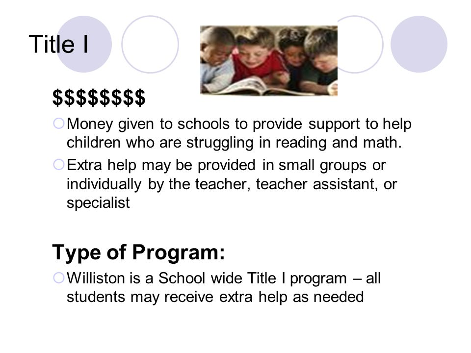Title I $$$$$$$$  Money given to schools to provide support to help children who are struggling in reading and math.  Extra help may be provided in