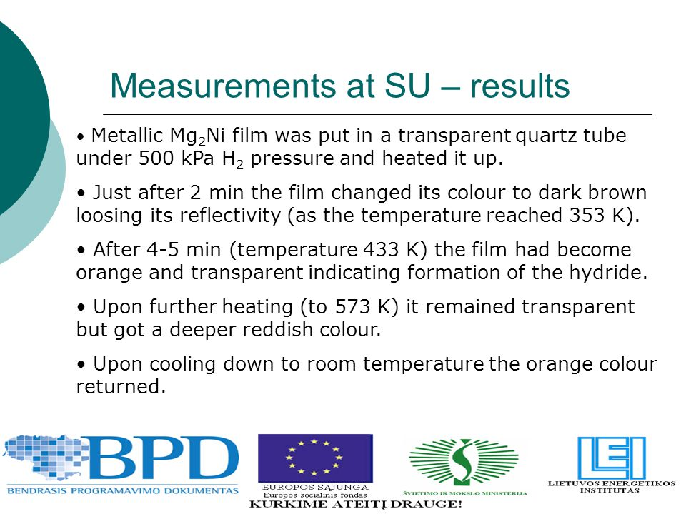 Measurements at SU – results Metallic Mg 2 Ni film was put in a transparent quartz tube under 500 kPa H 2 pressure and heated it up. Just after 2 min