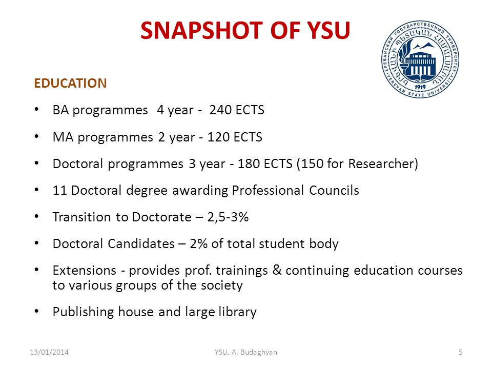 SNAPSHOT OF YSU EDUCATION BA programmes 4 year - 240 ECTS MA programmes 2 year - 120 ECTS Doctoral programmes 3 year - 180 ECTS (150 for Researcher) 11 Doctoral degree awarding Professional Councils Transition to Doctorate – 2,5-3% Doctoral Candidates – 2% of total student body Extensions - provides prof.