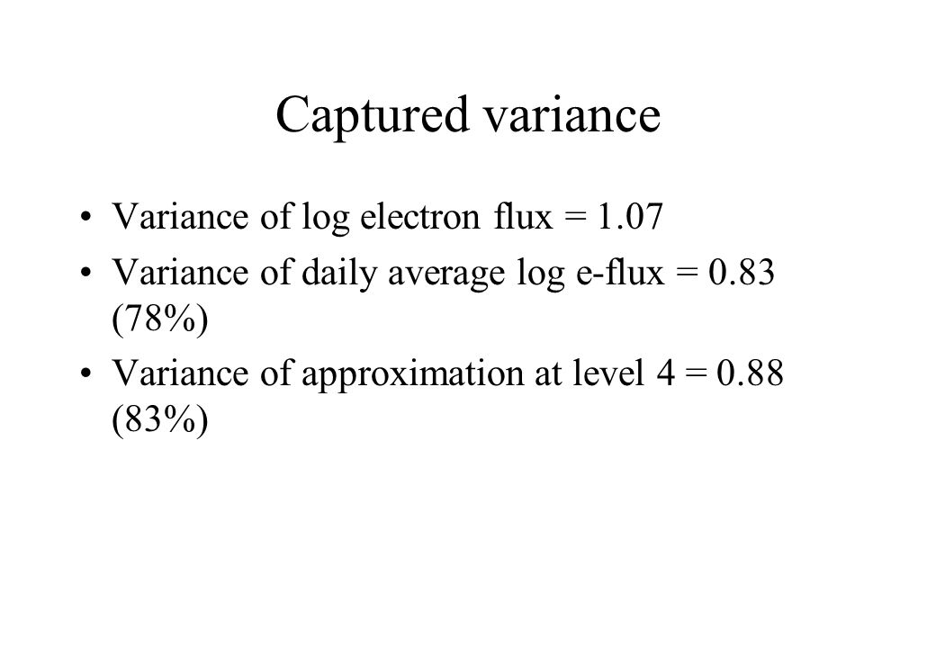 Captured variance Variance of log electron flux = 1.07 Variance of daily average log e-flux = 0.83 (78%) Variance of approximation at level 4 = 0.88 (