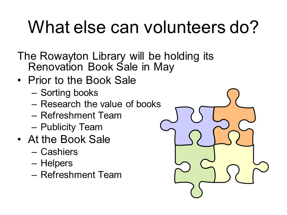 What else can volunteers do? The Rowayton Library will be holding its Renovation Book Sale in May Prior to the Book Sale –Sorting books –Research the