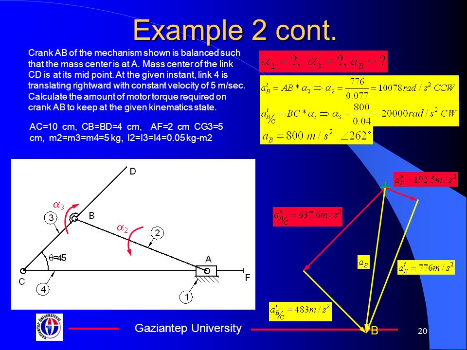 Gaziantep University 20 Example 2 cont. Crank AB of the mechanism shown is balanced such that the mass center is at A. Mass center of the link CD is a