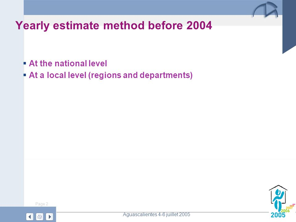 Page 2 Aguascalientes 4-6 juillet 2005 Yearly estimate method before 2004  At the national level  At a local level (regions and departments)