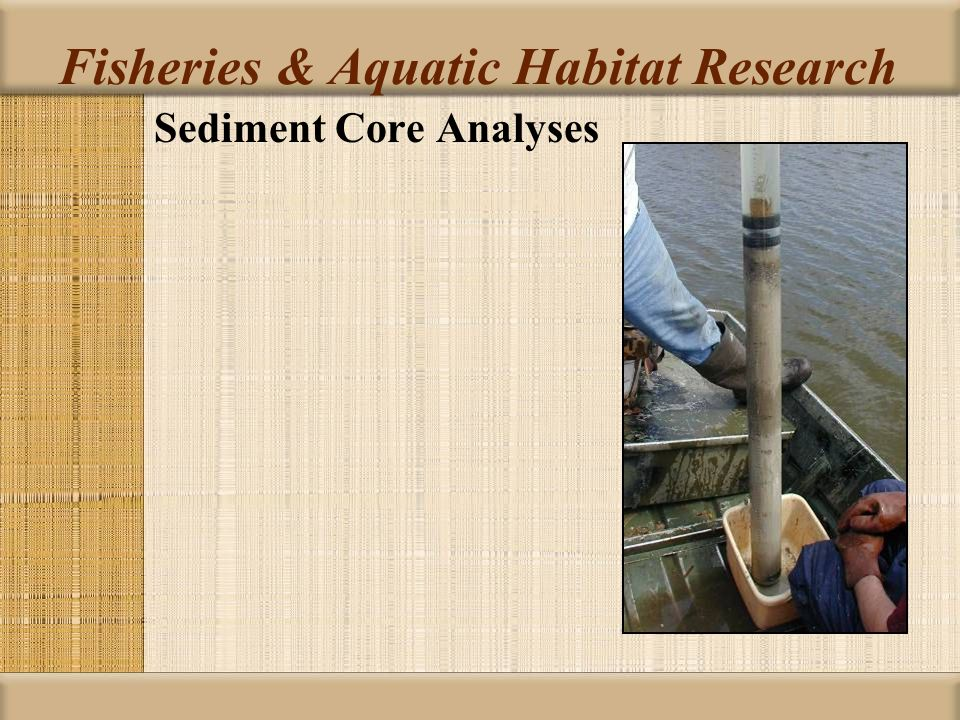 Sediment Core Analyses Fisheries & Aquatic Habitat Research
