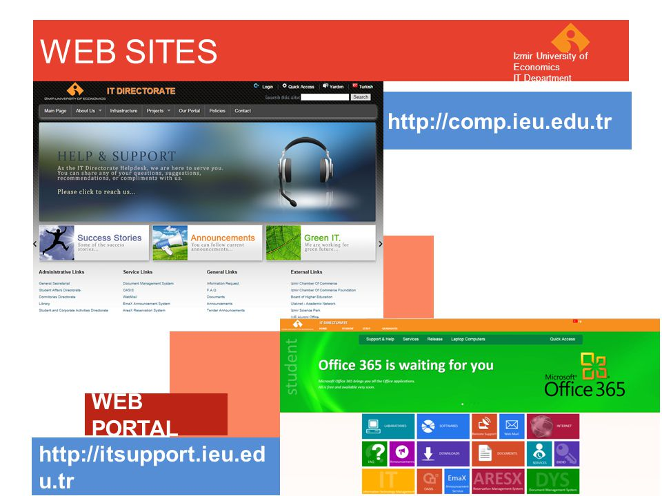 Your company name Your Logo WEB SITES http://comp.ieu.edu.tr http://itsupport.ieu.ed u.tr Izmir University of Economics IT Department WEB PORTAL