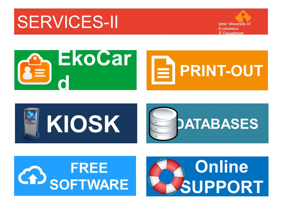 Your company name Your Logo EkoCar d PRINT-OUT SERVICES-II KIOSK FREE SOFTWARE Online SUPPORT DATABASES Izmir University of Economics IT Department