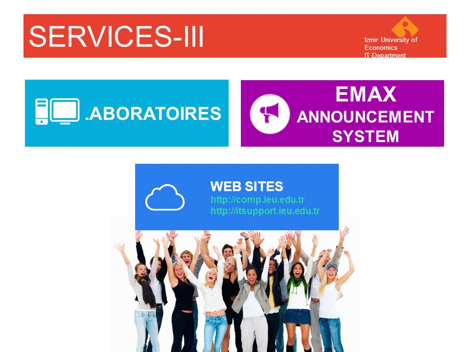 Your company name Your Logo SERVICES-III LABORATOIRES EMAX ANNOUNCEMENT SYSTEM WEB SITES http://comp.ieu.edu.tr http://itsupport.ieu.edu.tr Izmir University of Economics IT Department