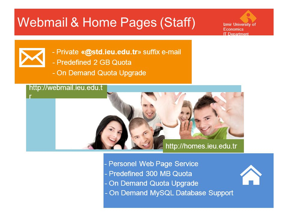 Your company name Your Logo Webmail & Home Pages (Staff) - Private «@std.ieu.edu.tr» suffix e-mail - On Demand Quota Upgrade - Predefined 2 GB Quota - Personel Web Page Service - On Demand Quota Upgrade - Predefined 300 MB Quota - On Demand MySQL Database Support http://webmail.ieu.edu.t r http://homes.ieu.edu.tr Izmir University of Economics IT Department
