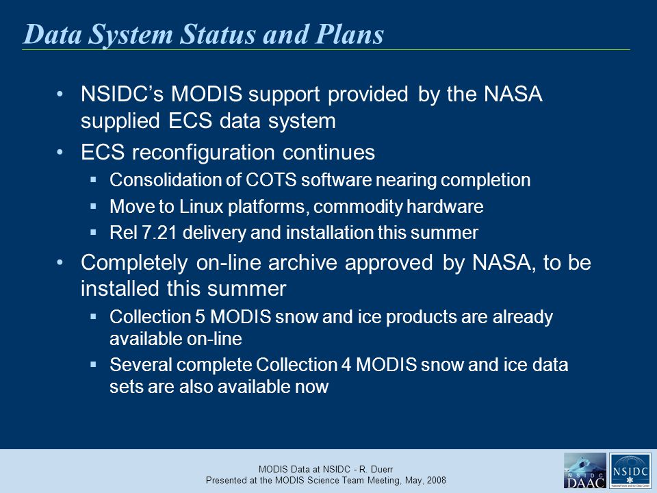 MODIS Data at NSIDC - R.