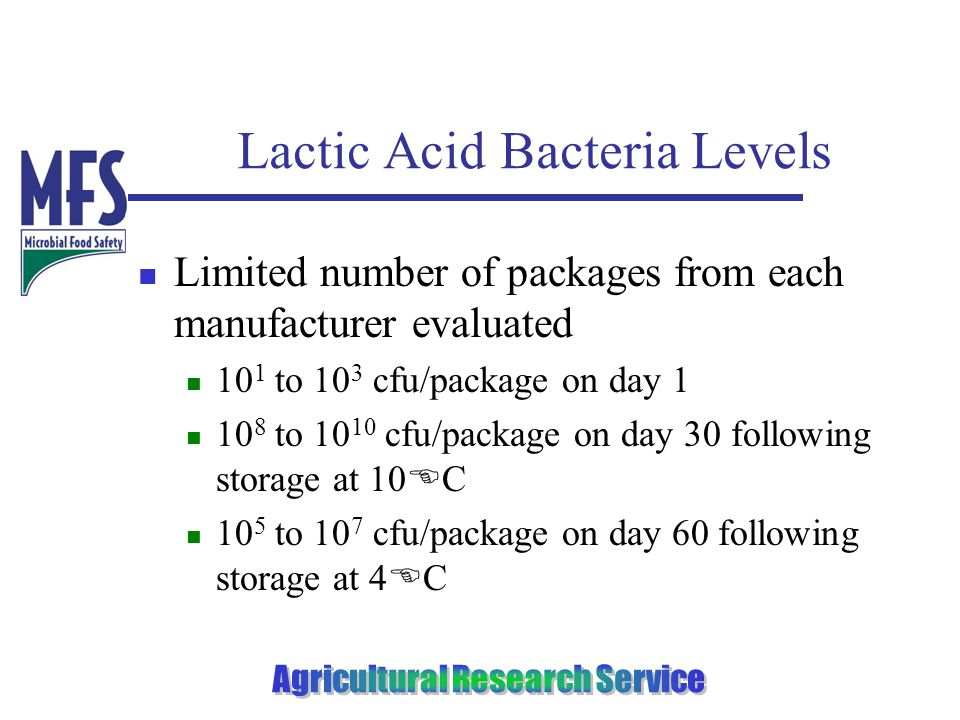 Lactic Acid Bacteria Levels Limited number of packages from each manufacturer evaluated 10 1 to 10 3 cfu/package on day 1 10 8 to 10 10 cfu/package on day 30 following storage at 10 E C 10 5 to 10 7 cfu/package on day 60 following storage at 4 E C