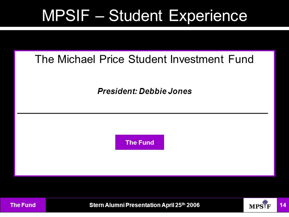The FundStern Alumni Presentation April 25 th 2006 14 MPSIF – Student Experience The Michael Price Student Investment Fund President: Debbie Jones ___________________________________ The Fund
