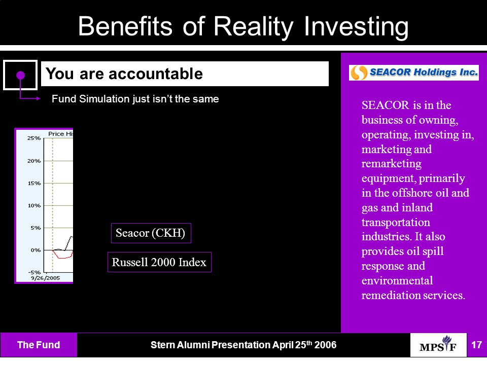 The FundStern Alumni Presentation April 25 th 2006 17 Benefits of Reality Investing You are accountable Fund Simulation just isn't the same SEACOR is in the business of owning, operating, investing in, marketing and remarketing equipment, primarily in the offshore oil and gas and inland transportation industries.
