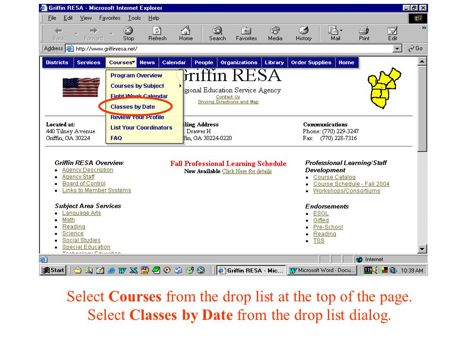 Select Courses from the drop list at the top of the page.