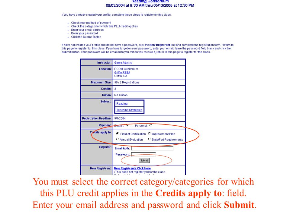You must select the correct category/categories for which this PLU credit applies in the Credits apply to: field.