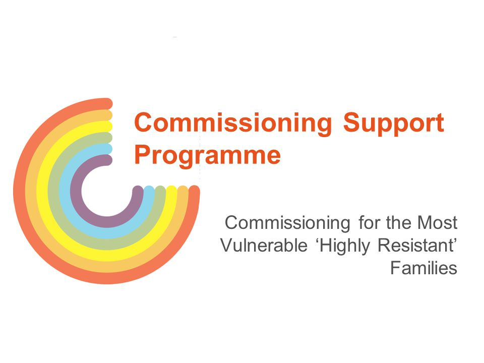 Workshop Outline What's the commissioning challenge for most vulnerable, resistant families.