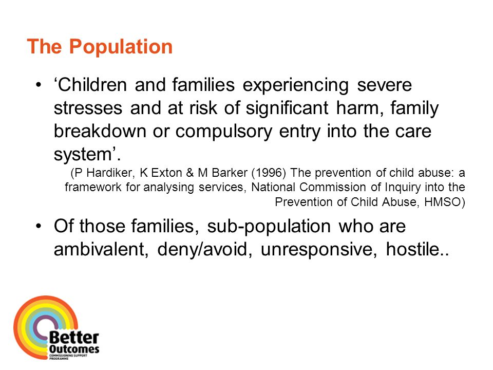 What's the Commissioning Issue.Huge emphasis on prevention and early intervention in recent years.
