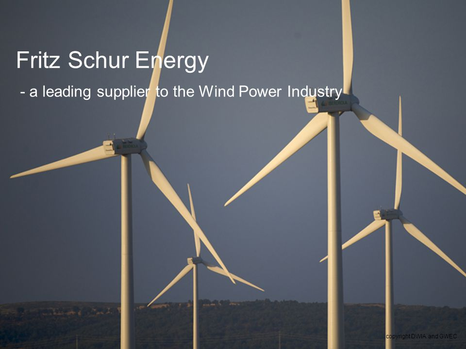 2 - a leading supplier to the Wind Power Industry Fritz Schur Energy copyright DWIA and GWEC
