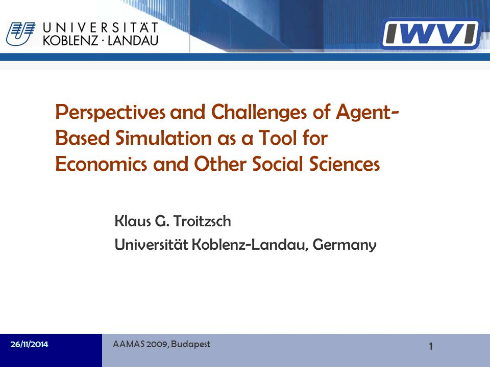 32/39 Informatik A final example: Trust in agent societies Agent-based social simulation allows for modelling beliefs and actions in a both formal and descriptive manner, as agent architectures can be designed to take into account the fact that human decision making is not just converting stimuli into responses with externally set probabilities and/or according to externally set payoff matrices, as is usually done in game- theoretic modelling of the emergence of trust.