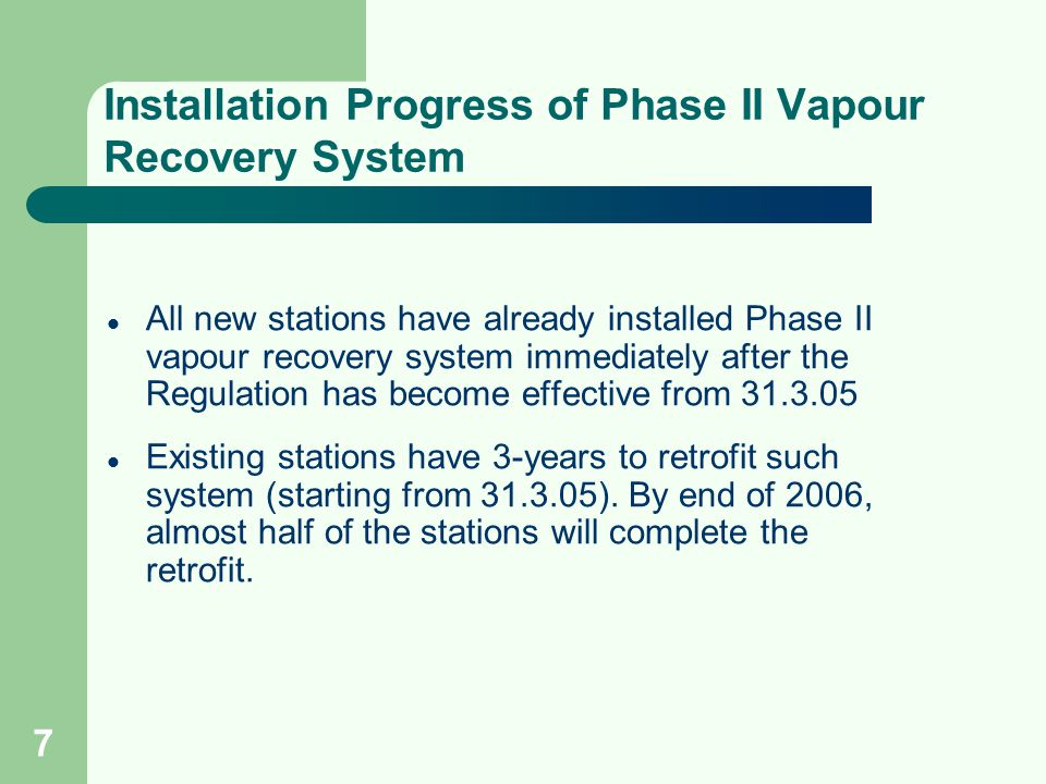 7 Installation Progress of Phase II Vapour Recovery System All new stations have already installed Phase II vapour recovery system immediately after t