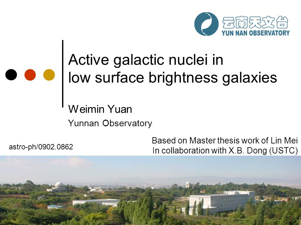 Active galactic nuclei in low surface brightness galaxies Weimin Yuan Yunnan Observatory Based on Master thesis work of Lin Mei In collaboration with
