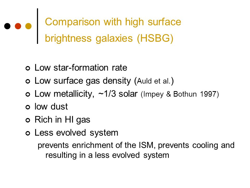 Comparison with high surface brightness galaxies (HSBG) Low star-formation rate Low surface gas density ( Auld et al. ) Low metallicity, ~1/3 solar (I