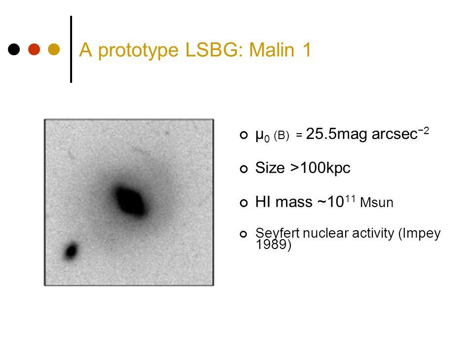 A prototype LSBG: Malin 1 μ 0 (B) = 25.5mag arcsec −2 Size >100kpc HI mass ~10 11 Msun Seyfert nuclear activity (Impey 1989)