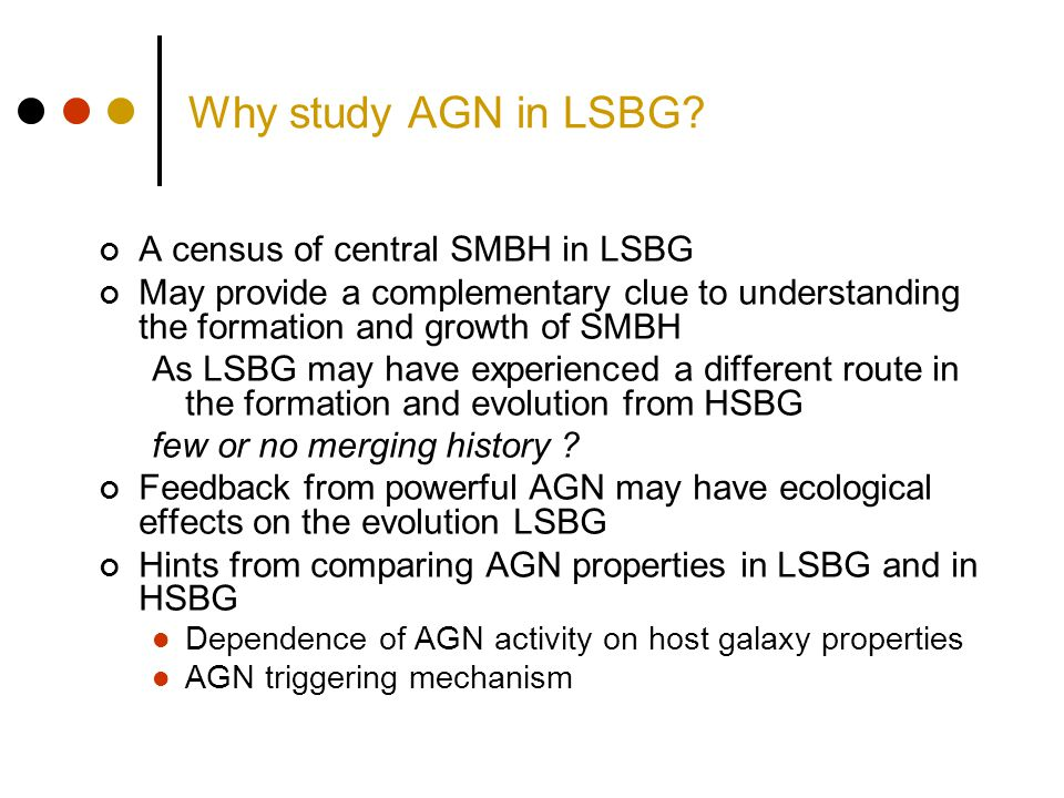 Why study AGN in LSBG? A census of central SMBH in LSBG May provide a complementary clue to understanding the formation and growth of SMBH As LSBG may