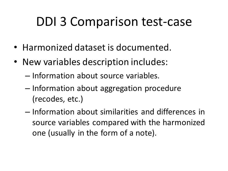 DDI 3 Comparison test-case Harmonized dataset is documented.