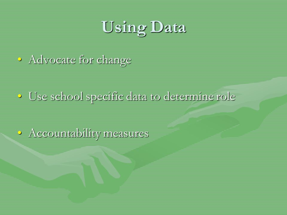 Using Data Advocate for changeAdvocate for change Use school specific data to determine roleUse school specific data to determine role Accountability measuresAccountability measures