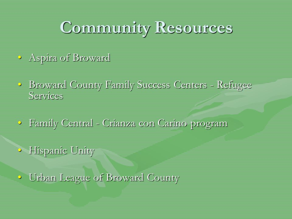 Community Resources Aspira of BrowardAspira of Broward Broward County Family Success Centers - Refugee ServicesBroward County Family Success Centers - Refugee Services Family Central - Crianza con Carino programFamily Central - Crianza con Carino program Hispanic UnityHispanic Unity Urban League of Broward CountyUrban League of Broward County